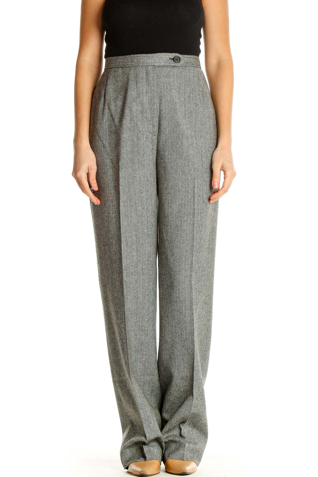 Gray Printed All Day Wear Trousers Front