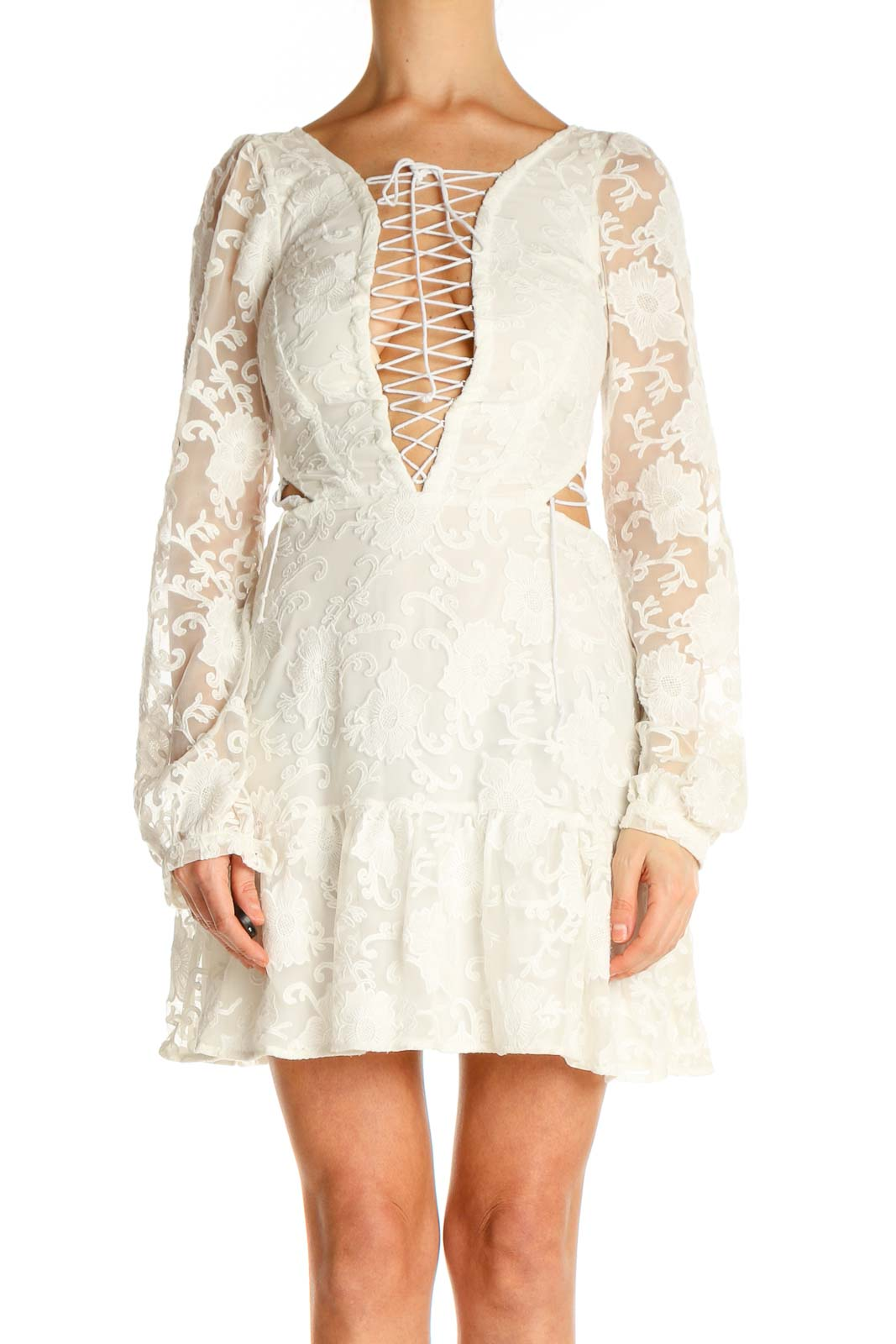 Beige Lace Day Fit & Flare Dress Front