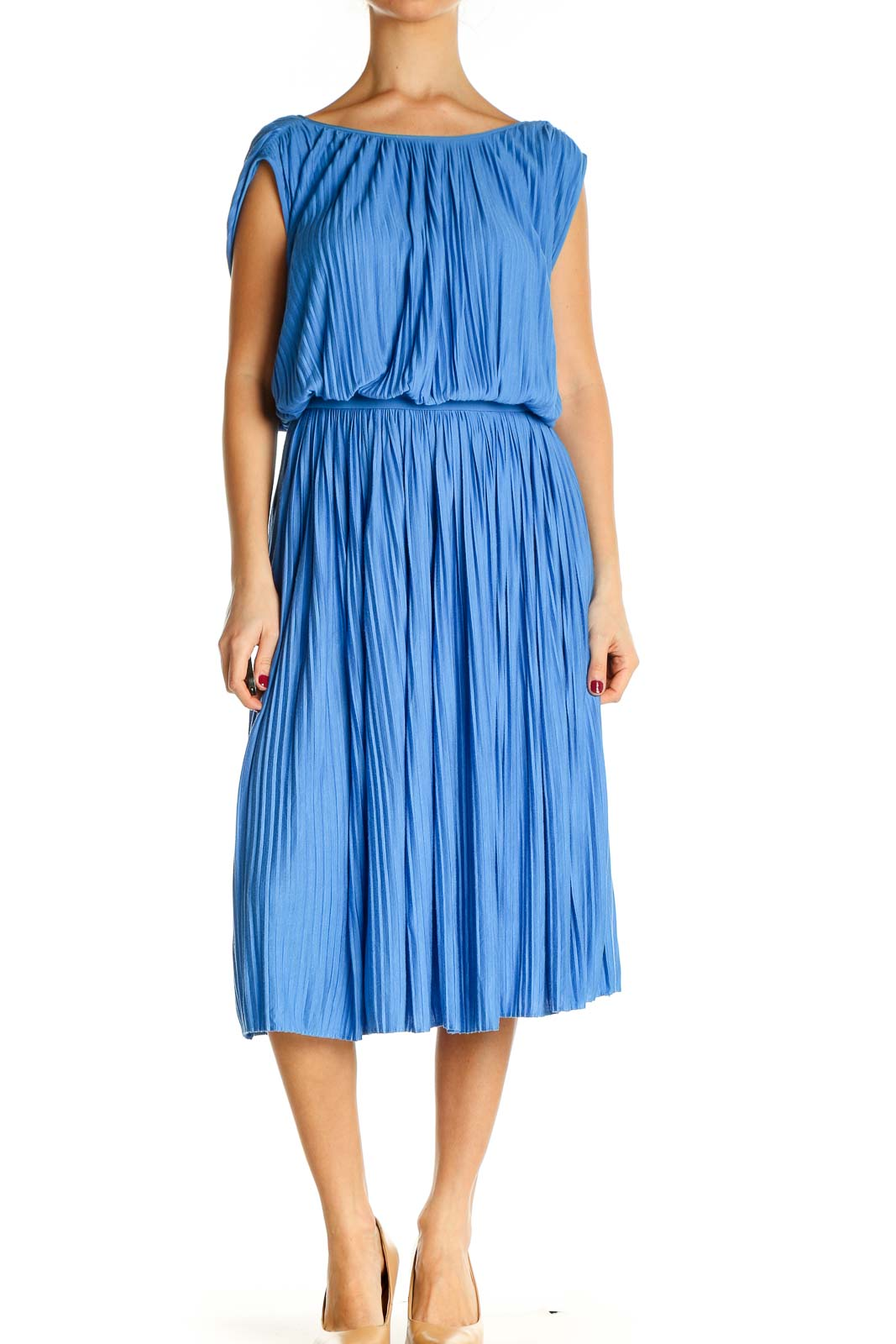 Blue Solid Bohemian Fit & Flare Dress Front