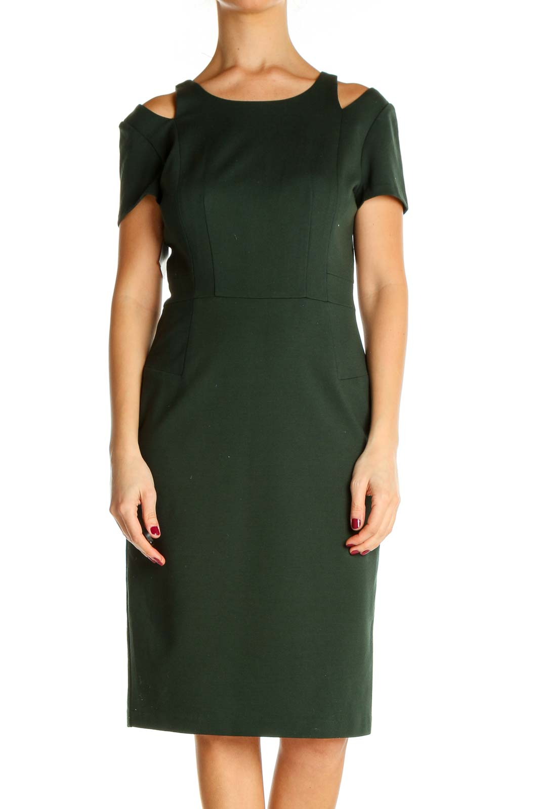 Green Solid Classic Sheath Dress Front