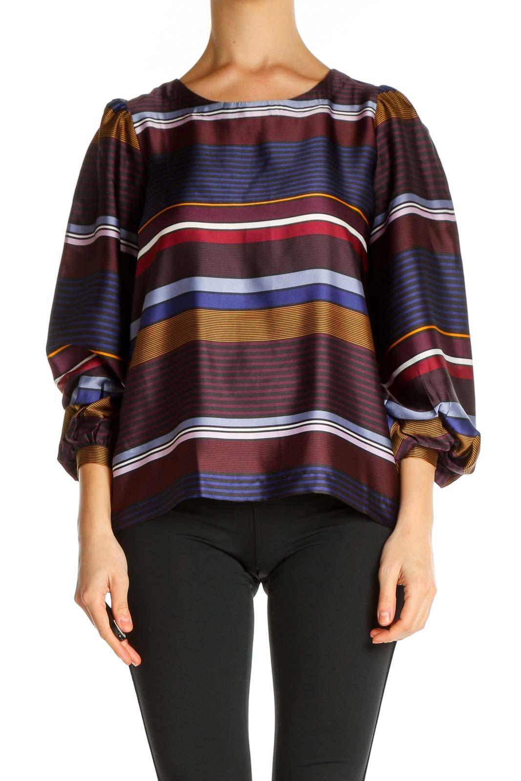 Gray Striped Retro T-Shirt Front