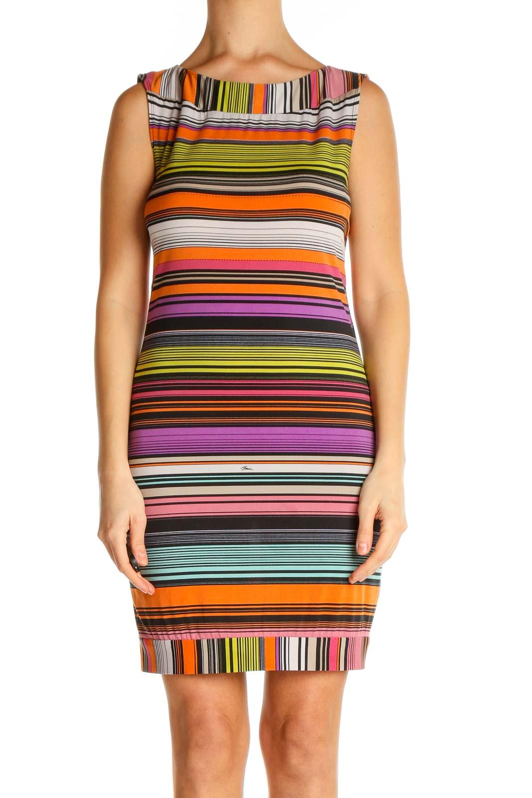 Orange Striped Day Sheath Dress Front