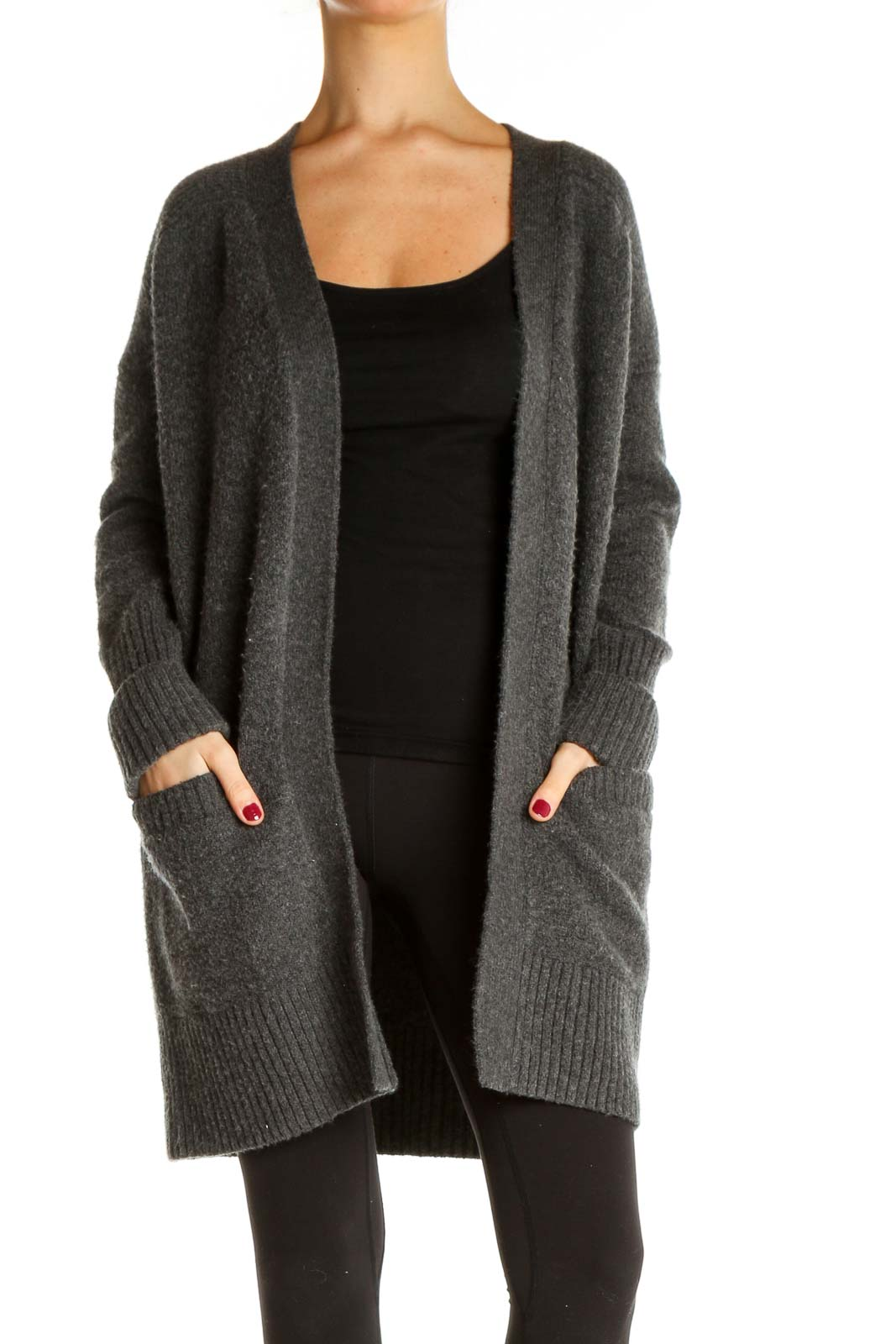 Gray All Day Wear Casual Cardigan Front