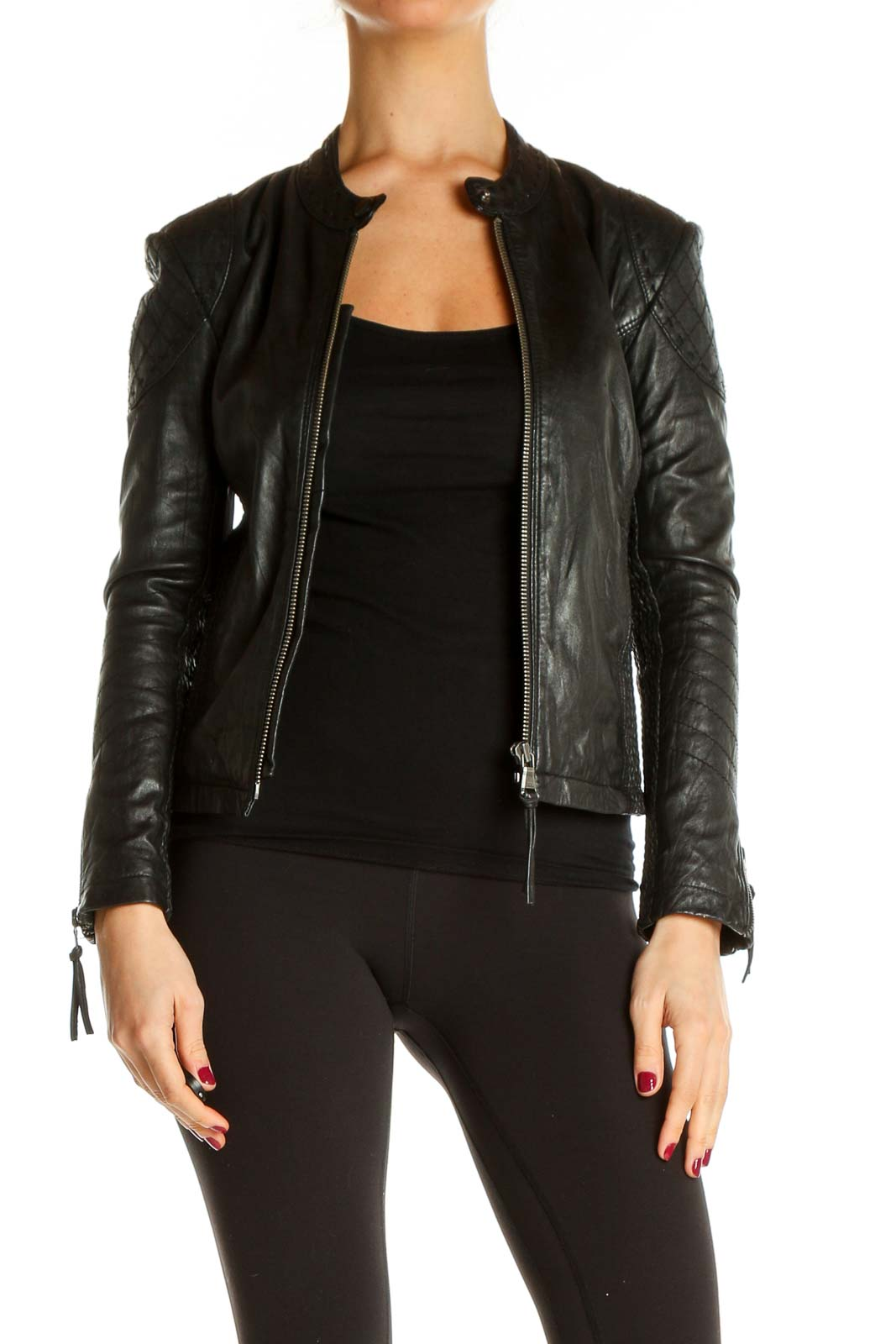 Black Motorcycle Jacket Front