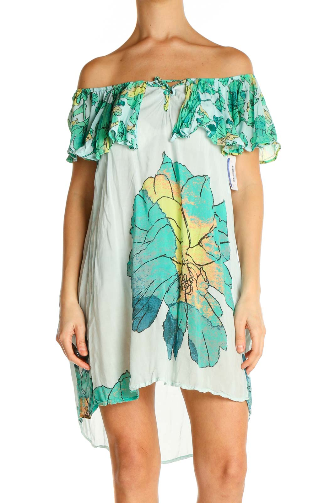 Beige Tropical Print Holiday Fit & Flare Dress Front