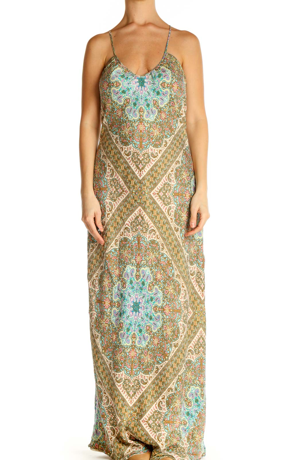 Brown Printed Holiday Column Dress Front