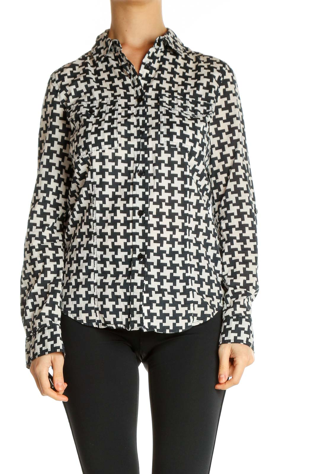 White Houndstooth Formal Shirt Front