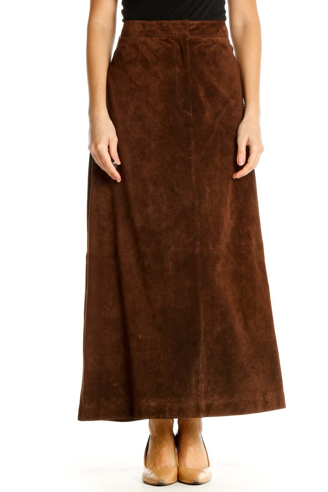Brown Textured Holiday A-Line Skirt Front