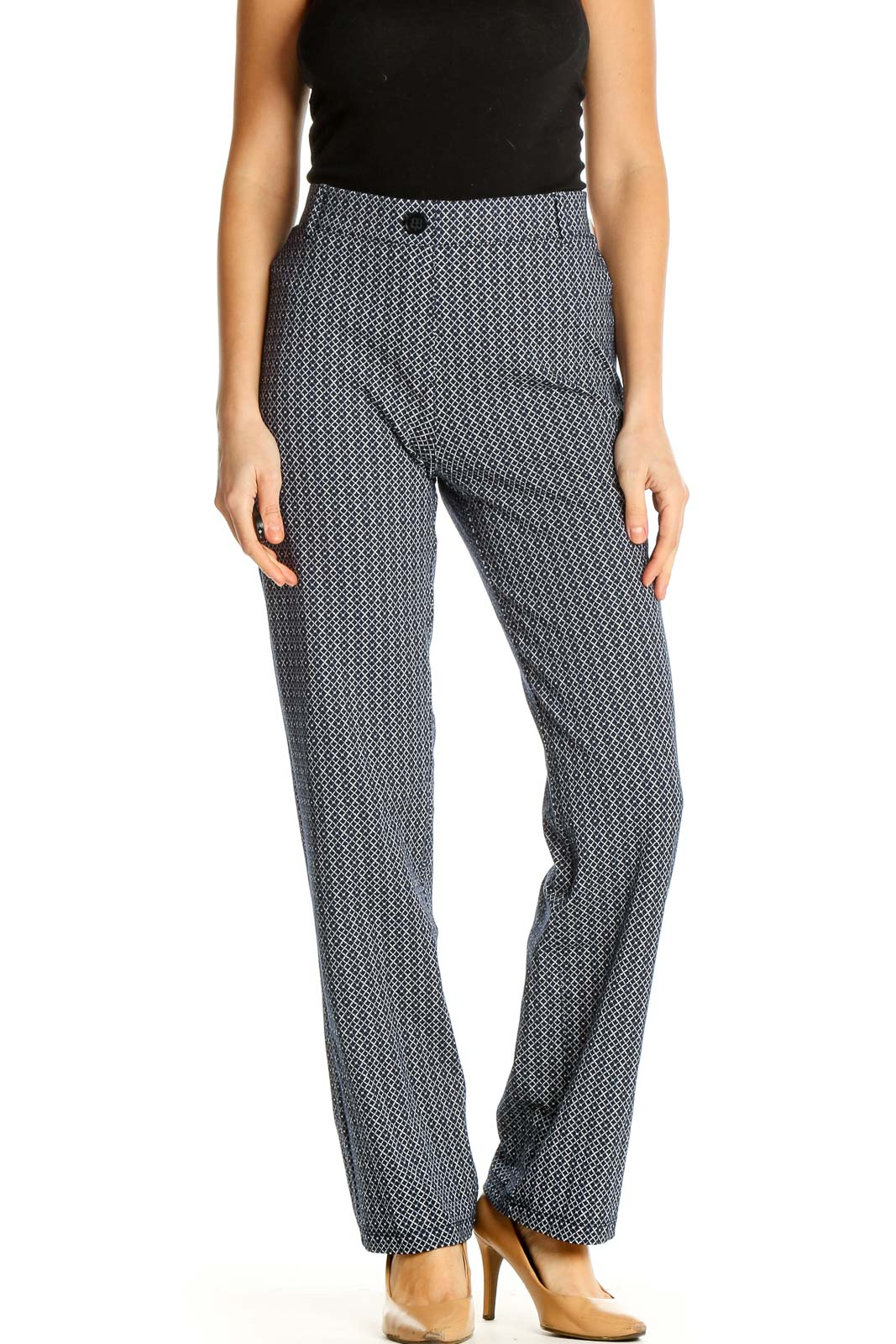 Gray Printed Classic Trousers Front