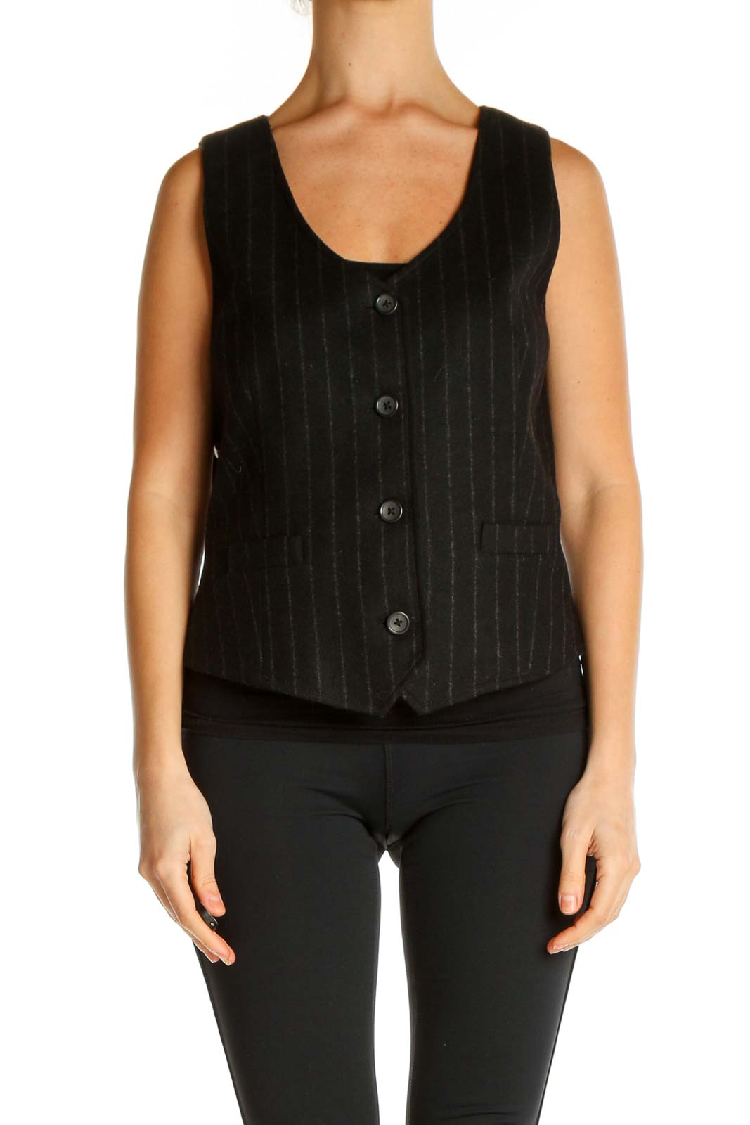 Black Solid All Day Wear Tank Top Front