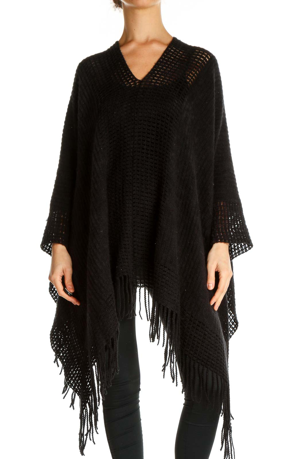Black Textured Outerwear Front