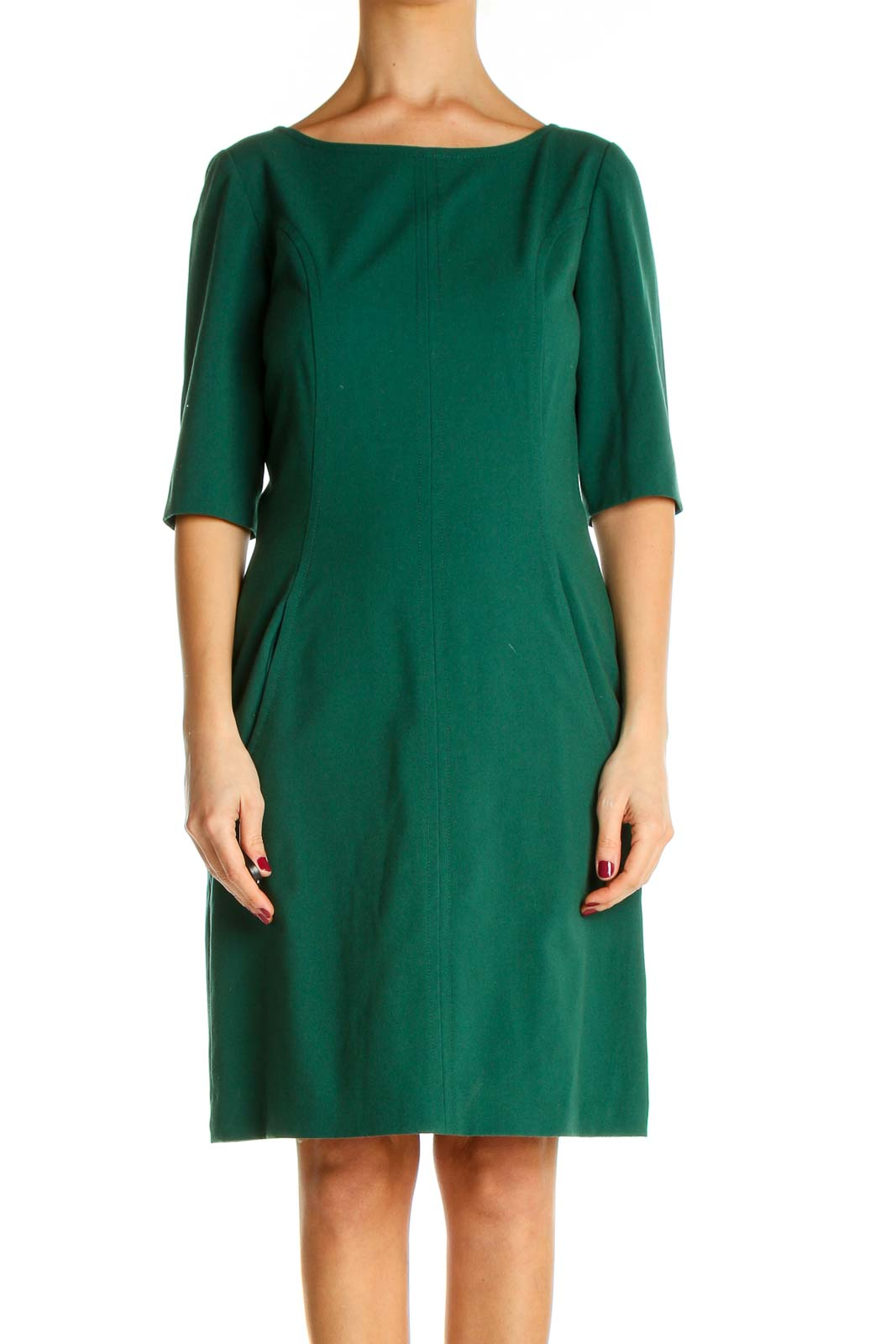 Green Solid Classic Fit & Flare Dress Front