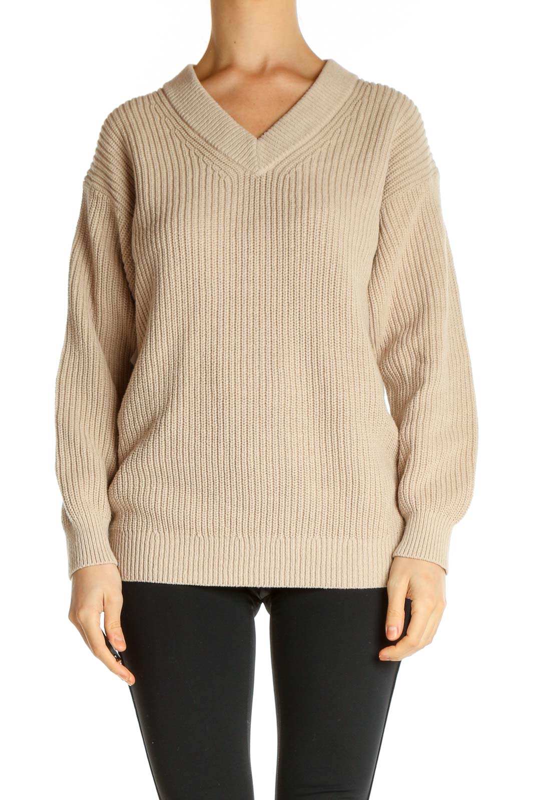 Beige Textured Classic Sweater Front