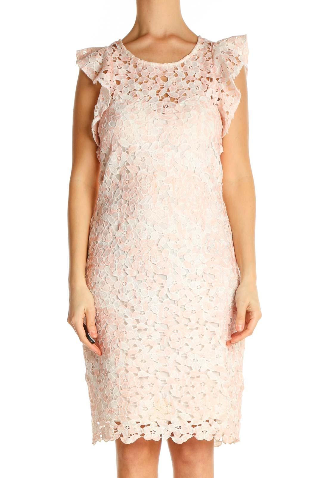 Pink Lace Sheath Dress Front