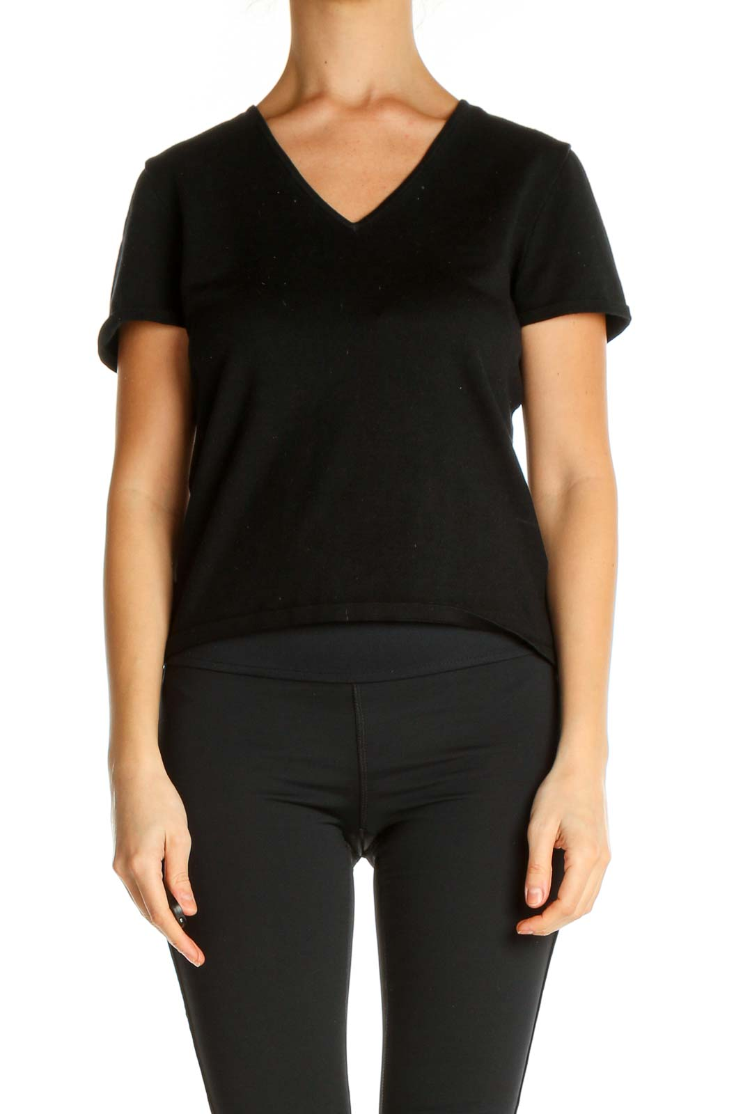 Black Solid All Day Wear T-Shirt Front