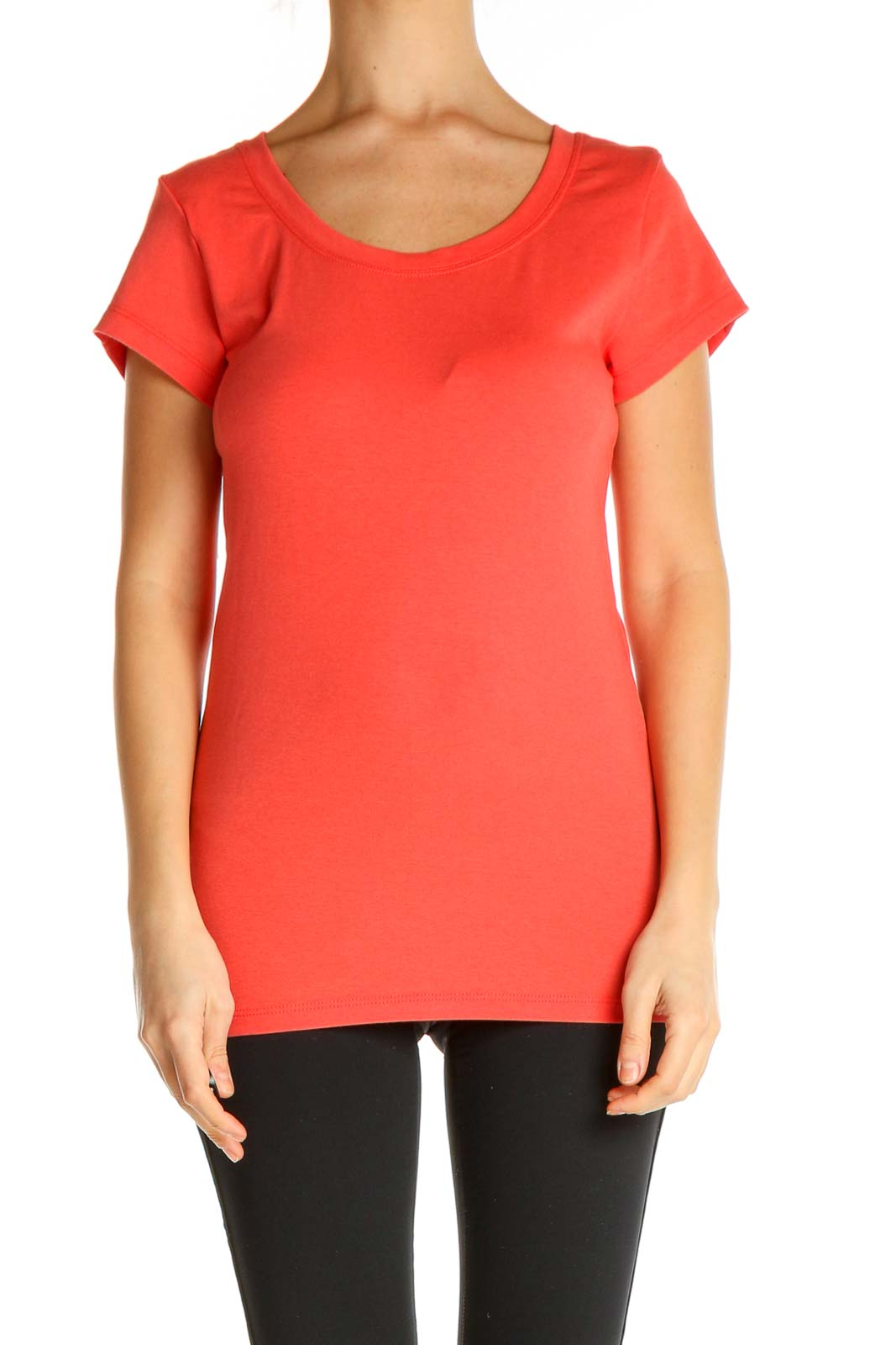 Orange Solid All Day Wear T-Shirt Front