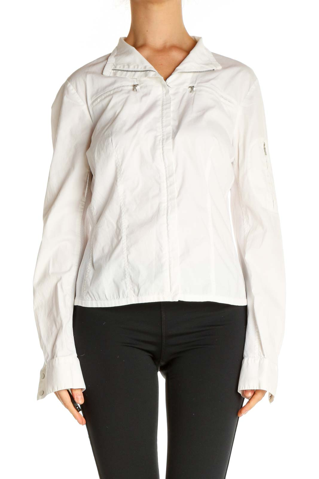 White Solid All Day Wear Top Front