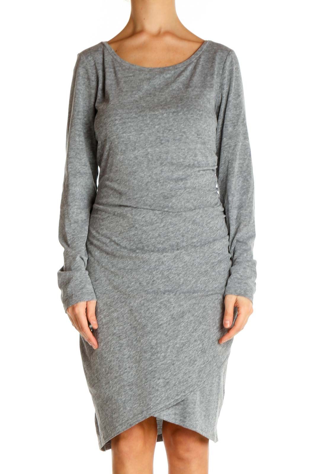 Gray Textured Day Sheath Dress Front