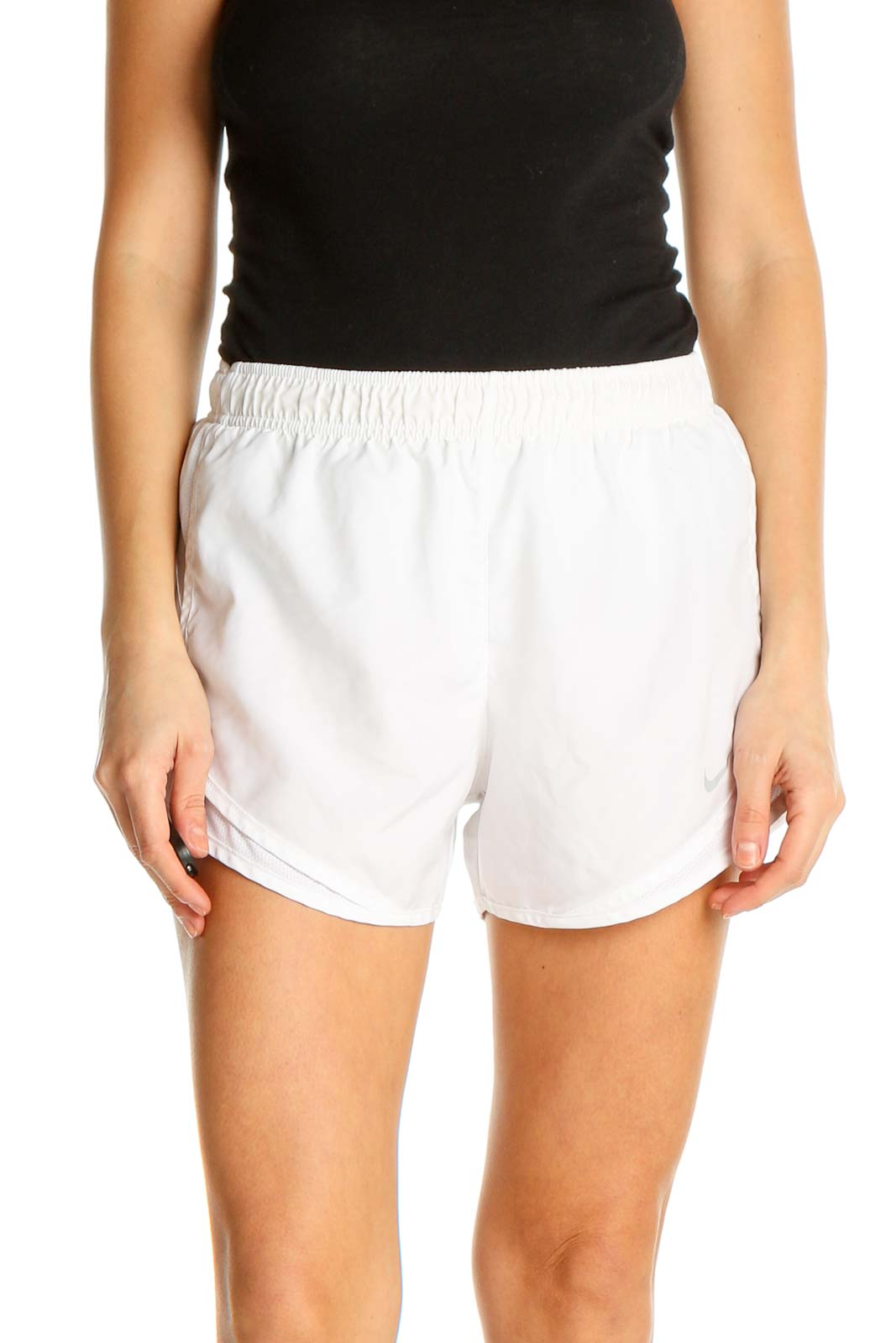 White Solid Activewear Shorts Front