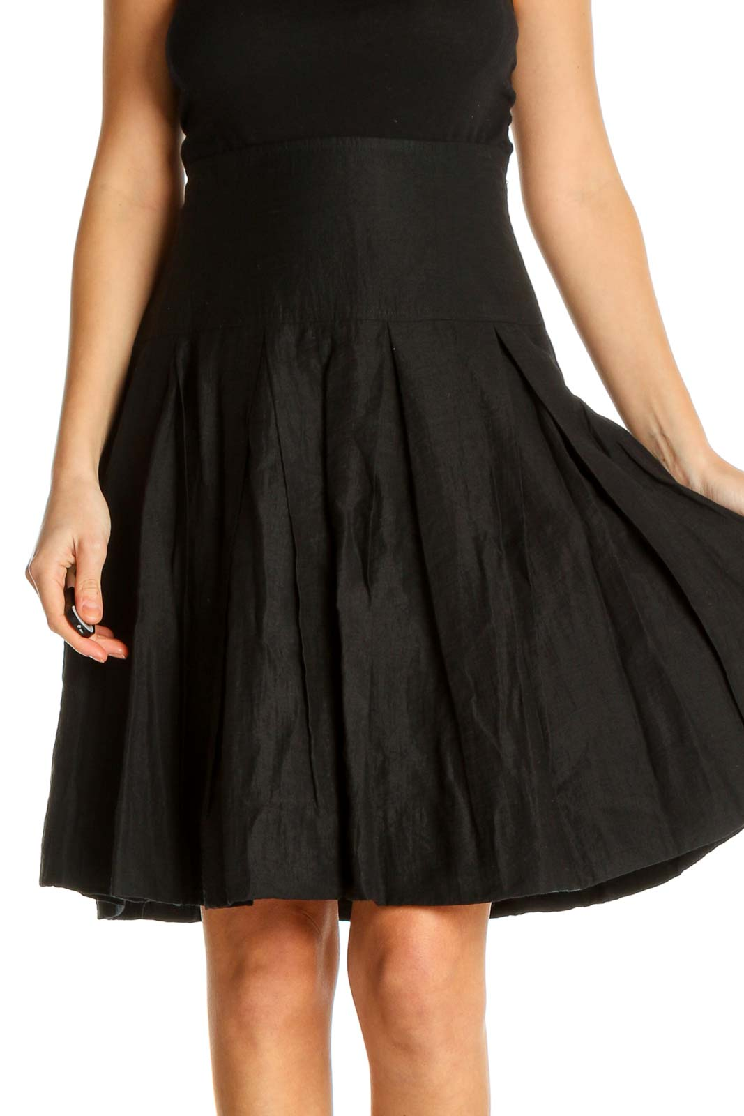Black Textured Chic Flared Skirt Front
