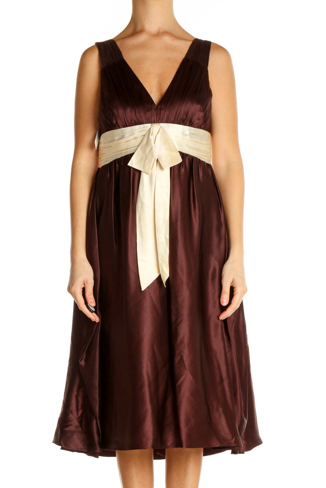 Brown Colorblock Fit & Flare Dress Front