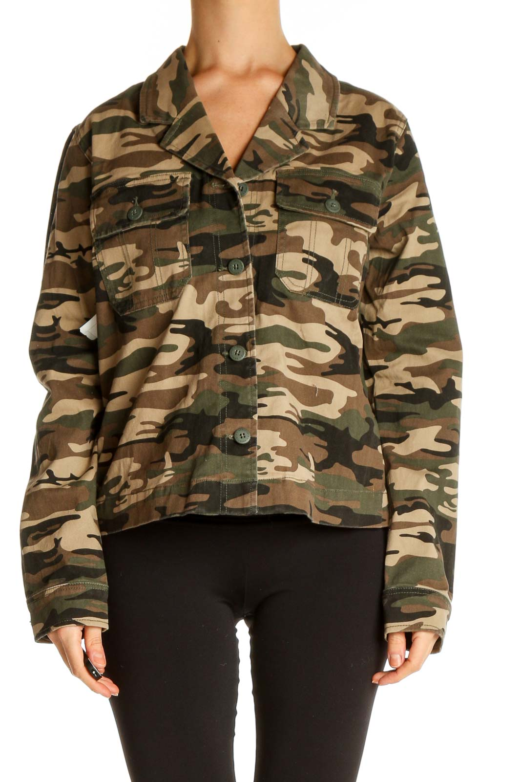 Beige Military Jacket Front