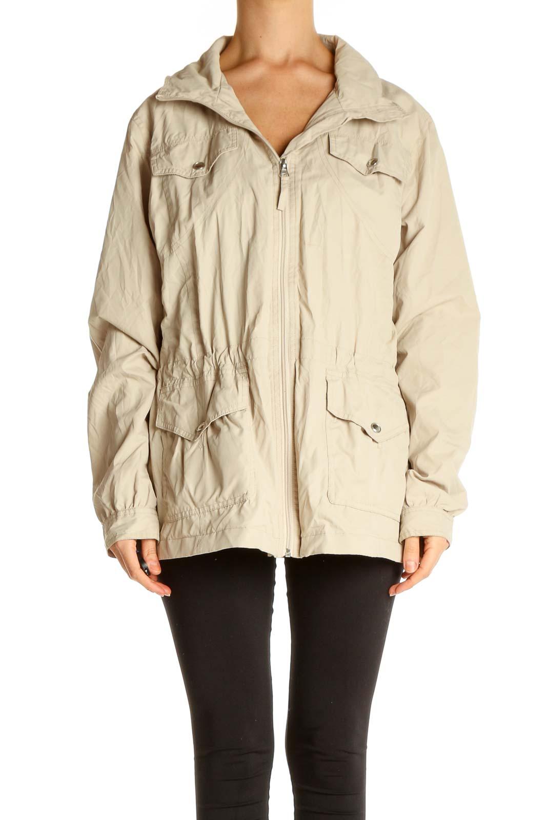 Beige Windbreaker Jacket Front
