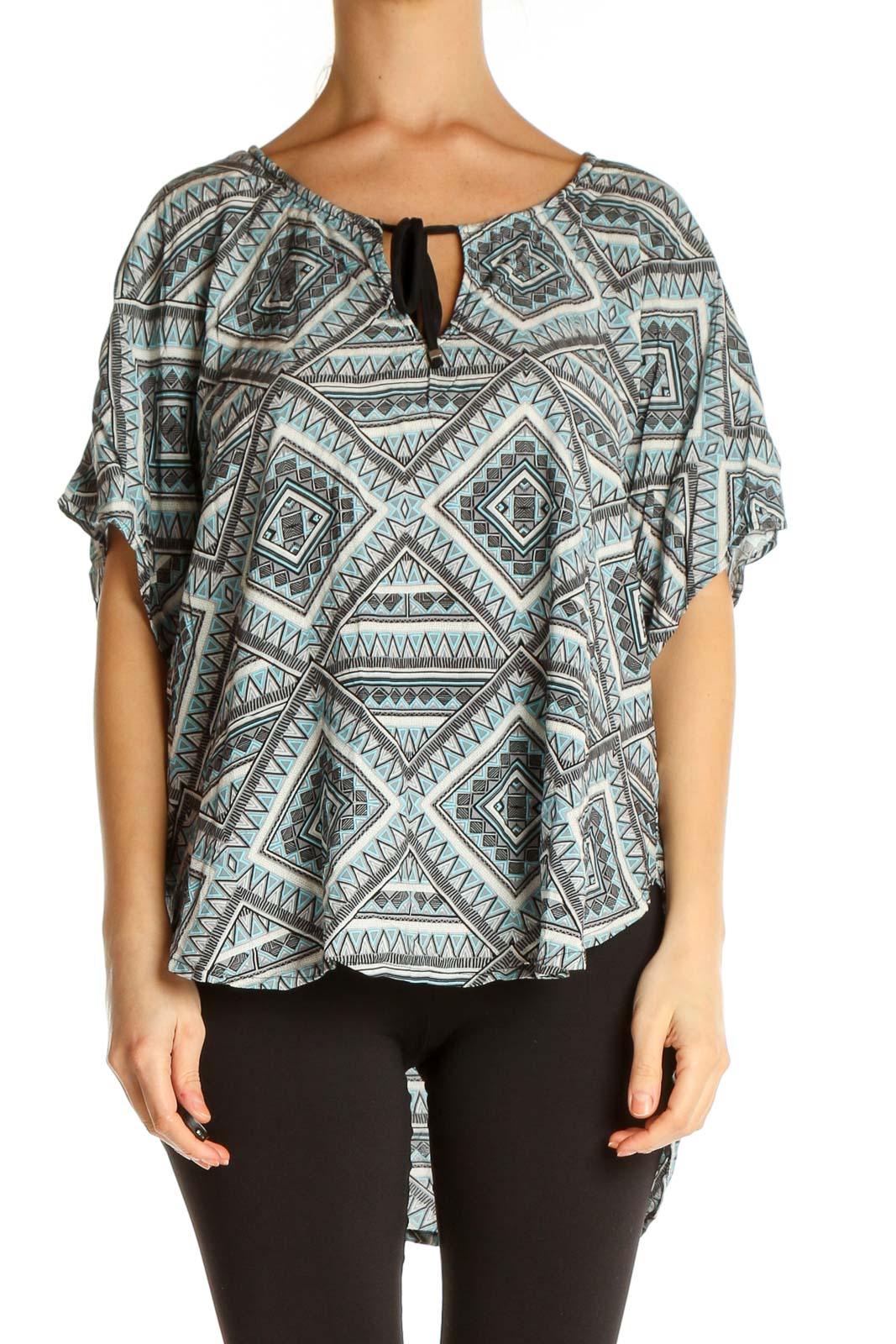 Gray Printed Bohemian T-Shirt Front