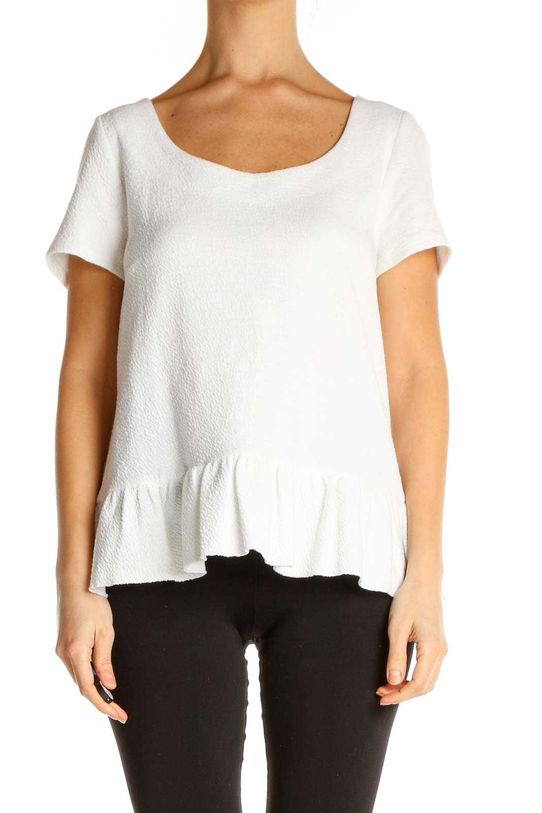 White Solid All Day Wear T-Shirt Front