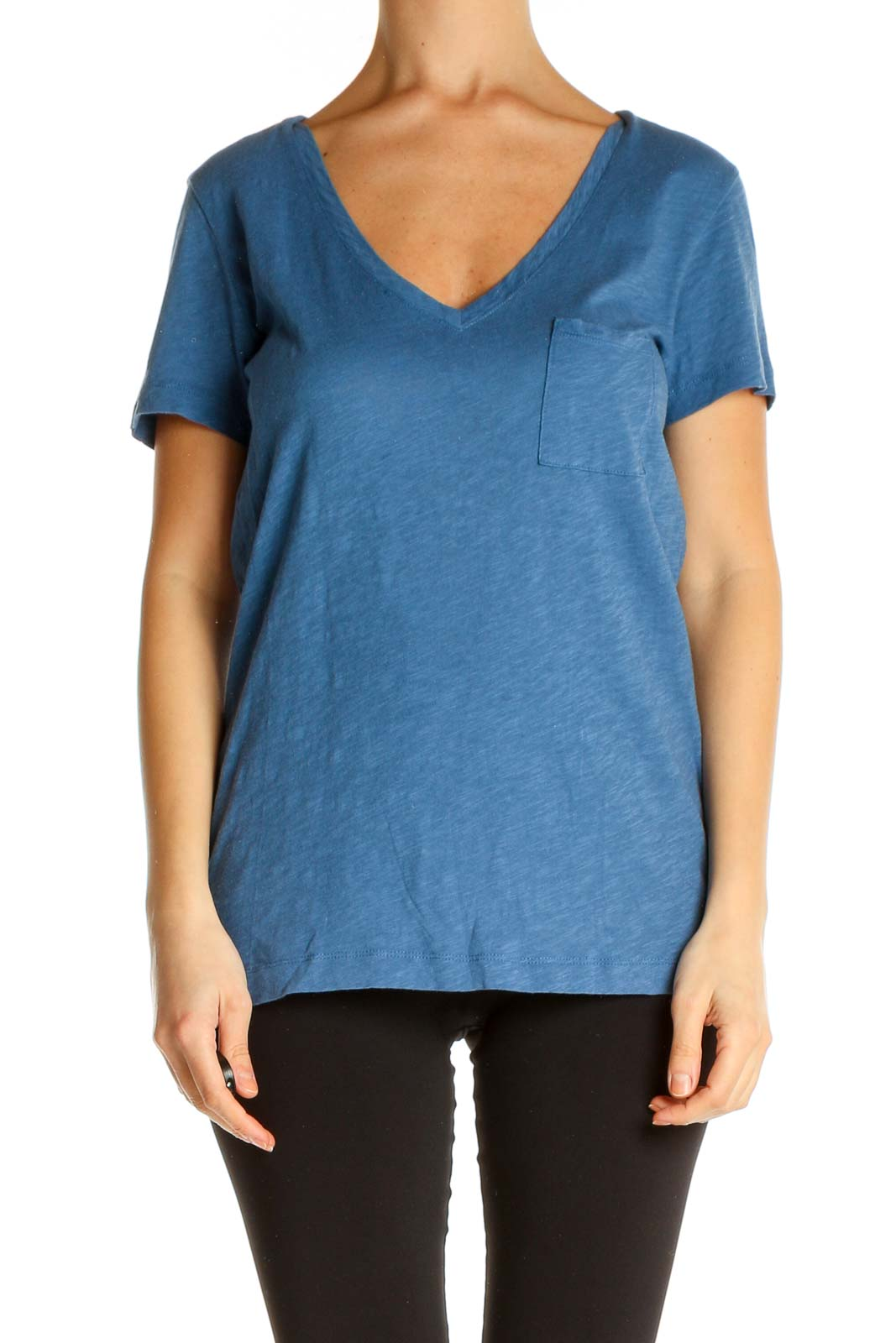 Blue Solid All Day Wear T-Shirt Front