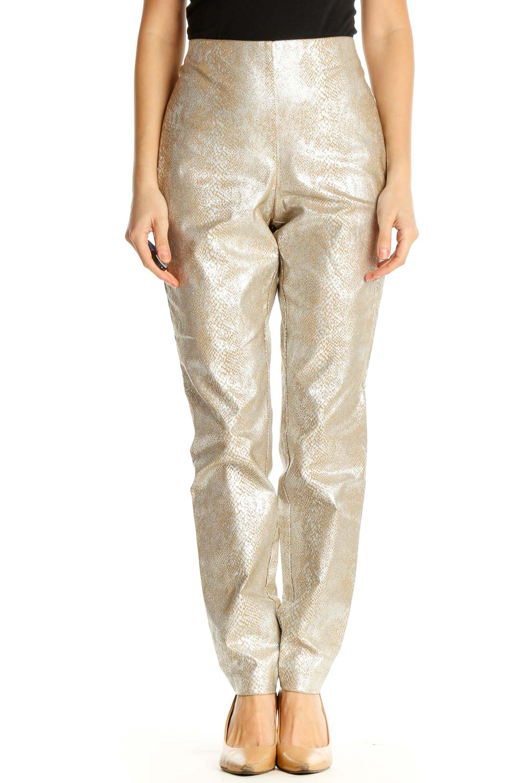 Beige Printed Party Trousers Front