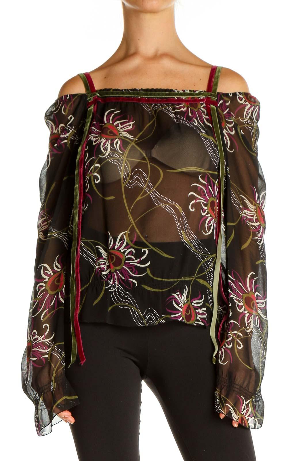 Black Floral Print Blouse Front