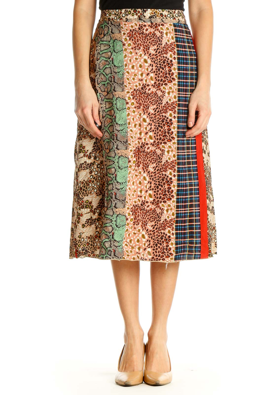 Beige Printed Holiday A-Line Skirt Front