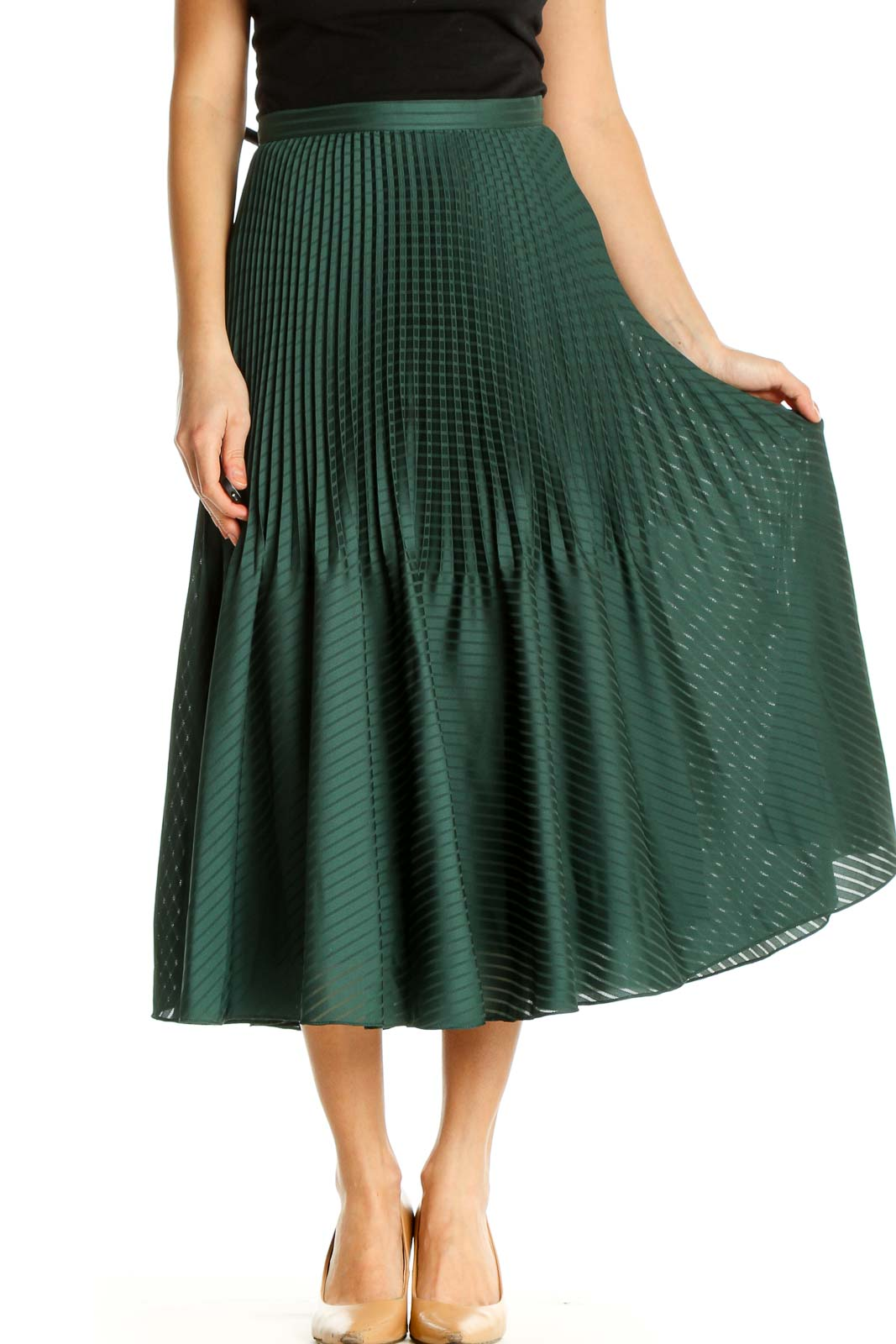 Green Chic Pleated Skirt Front