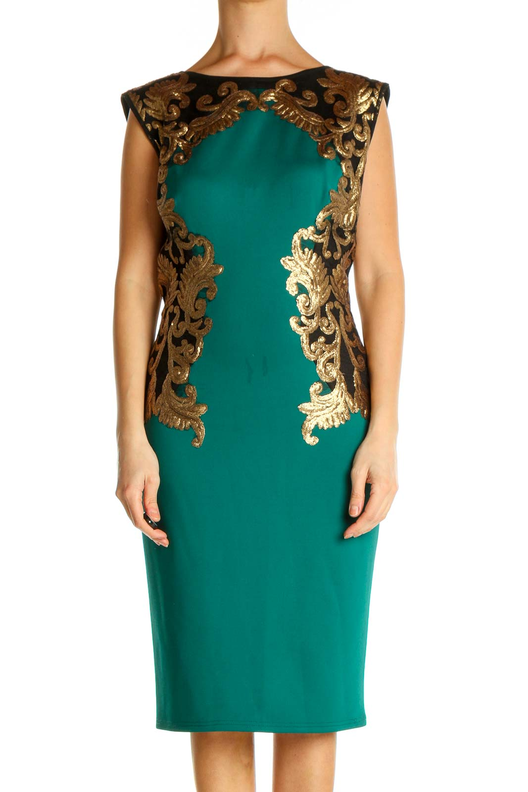 Green Cocktail Sheath Dress Front