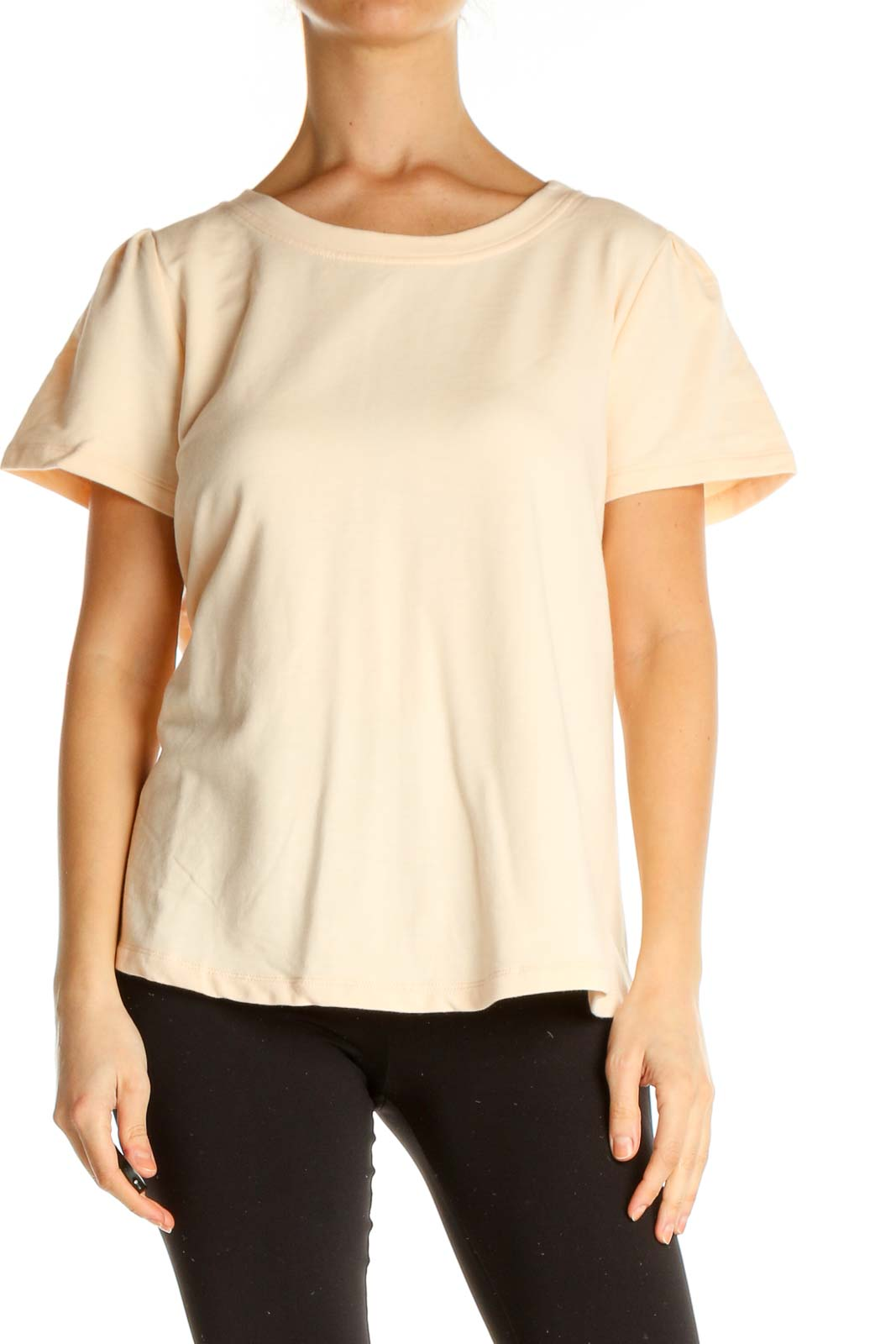 Beige Solid All Day Wear T-Shirt Front