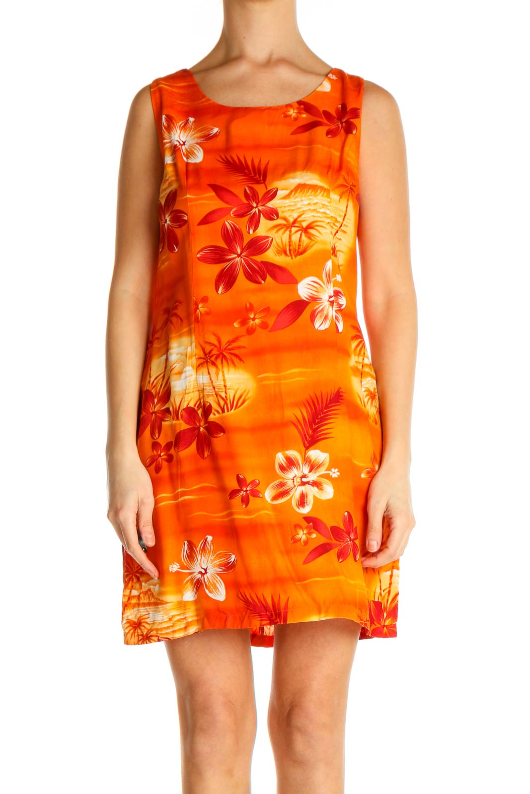 Orange Floral Print Holiday Sheath Dress Front