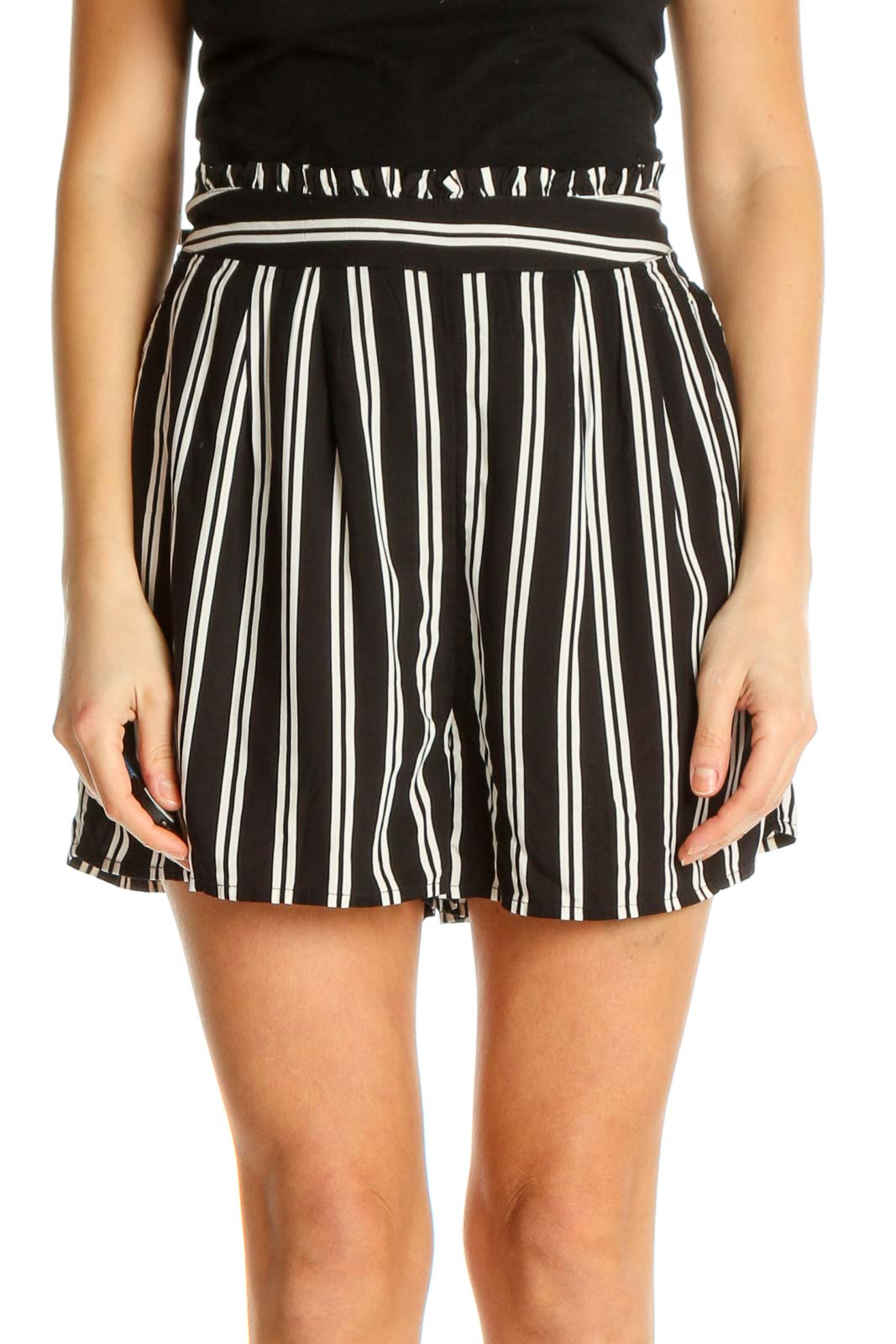 White Striped Holiday Shorts Front
