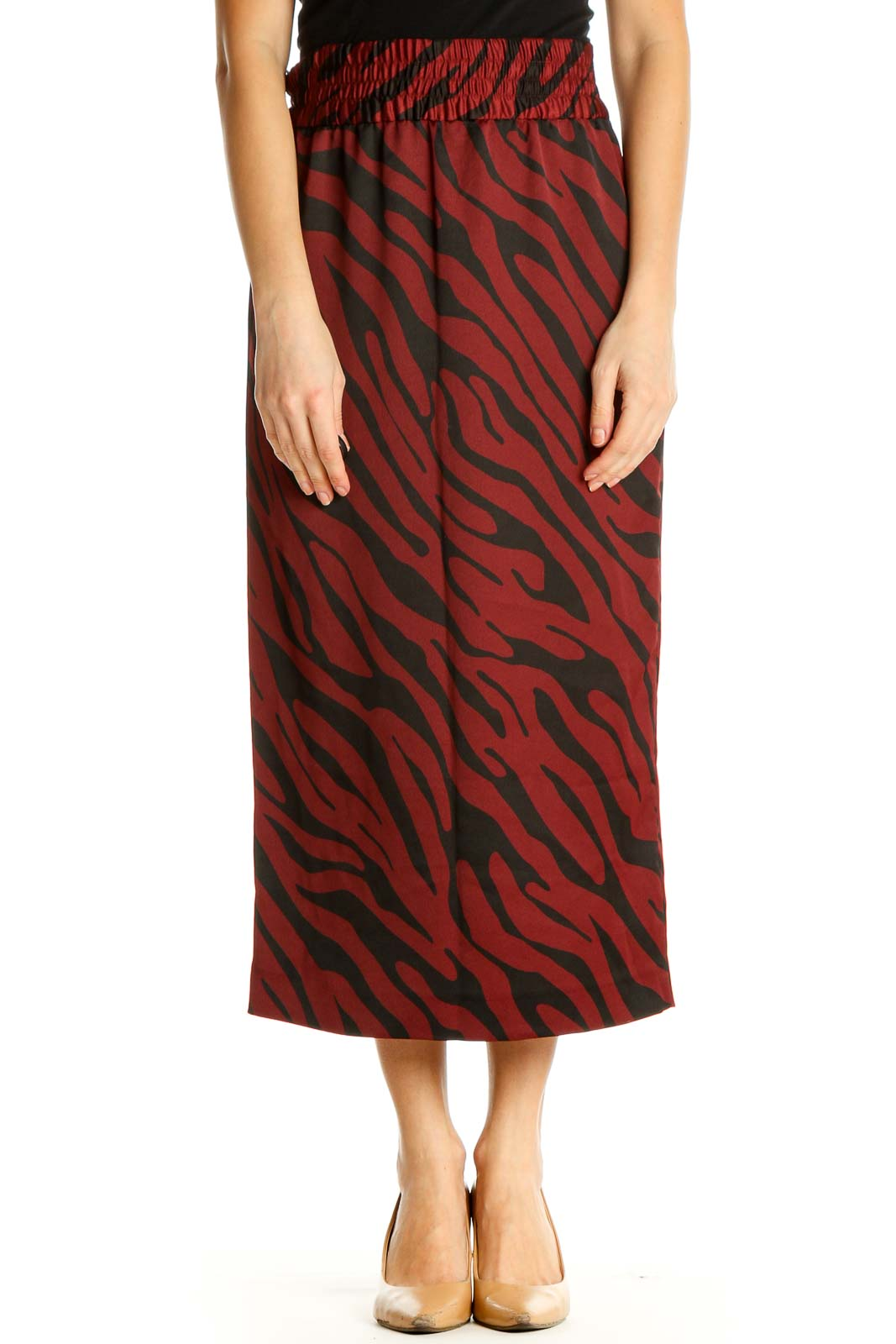 Black Animal Print Classic A-Line Skirt Front