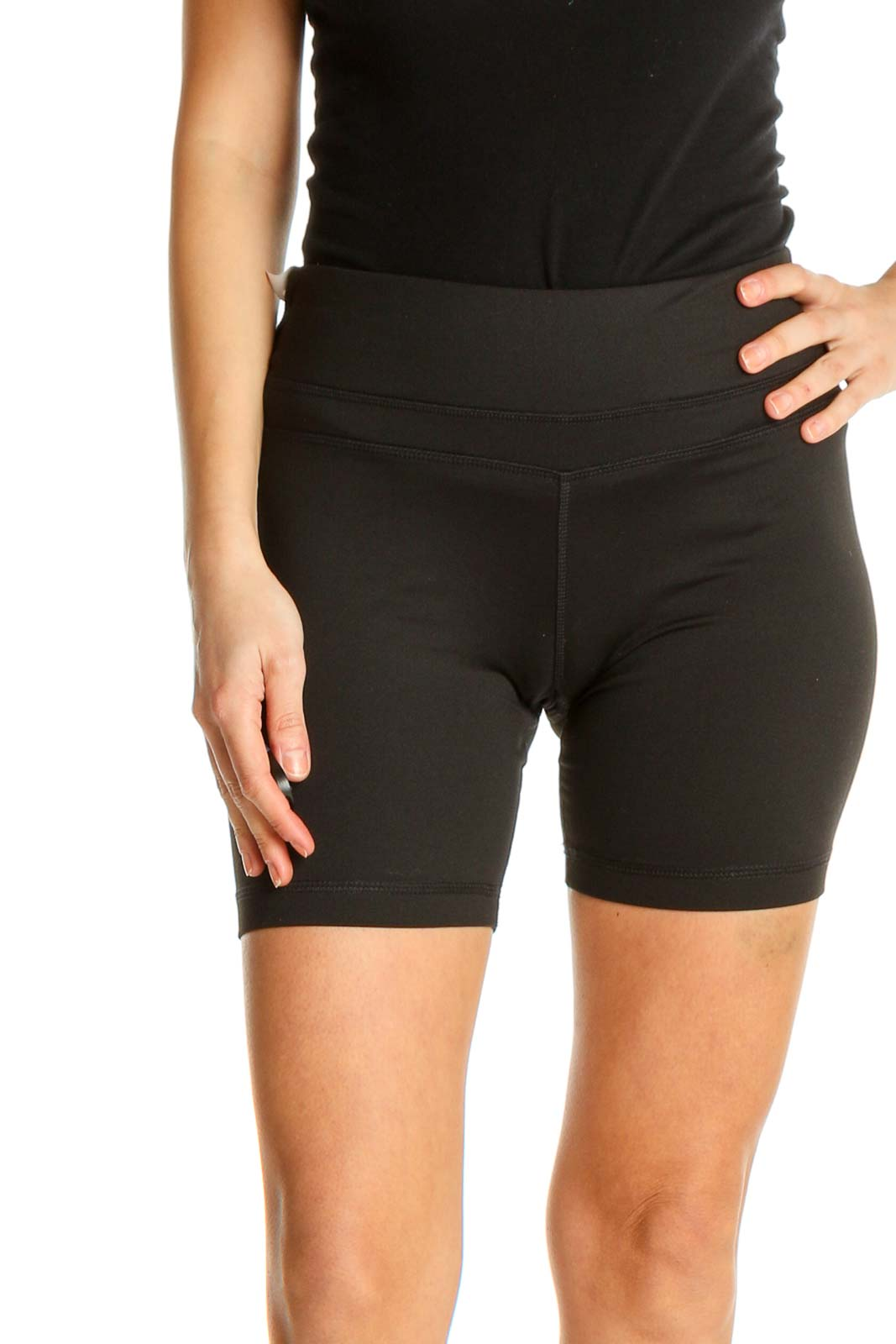 Black Solid All Day Wear Shorts Front
