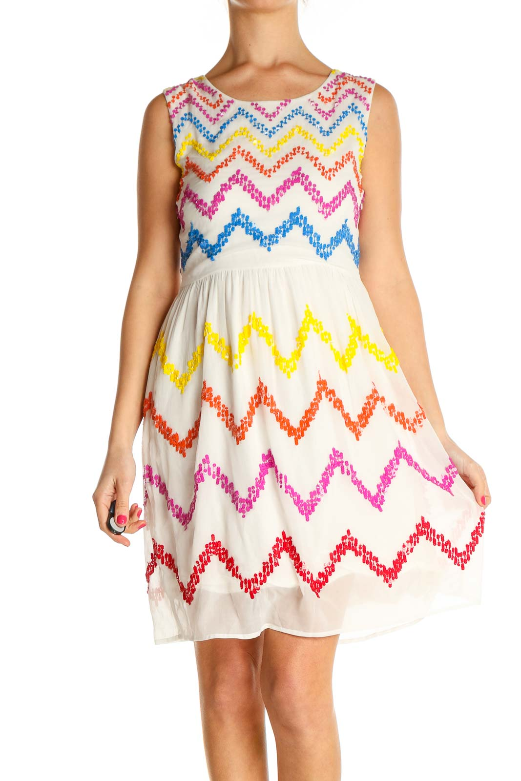 Beige Chevron Day Fit & Flare Dress Front