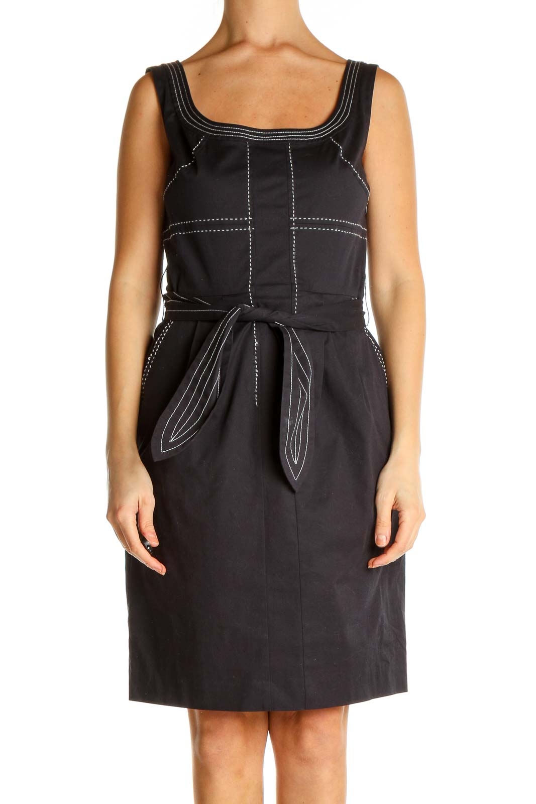 Black Solid Sheath Dress Front