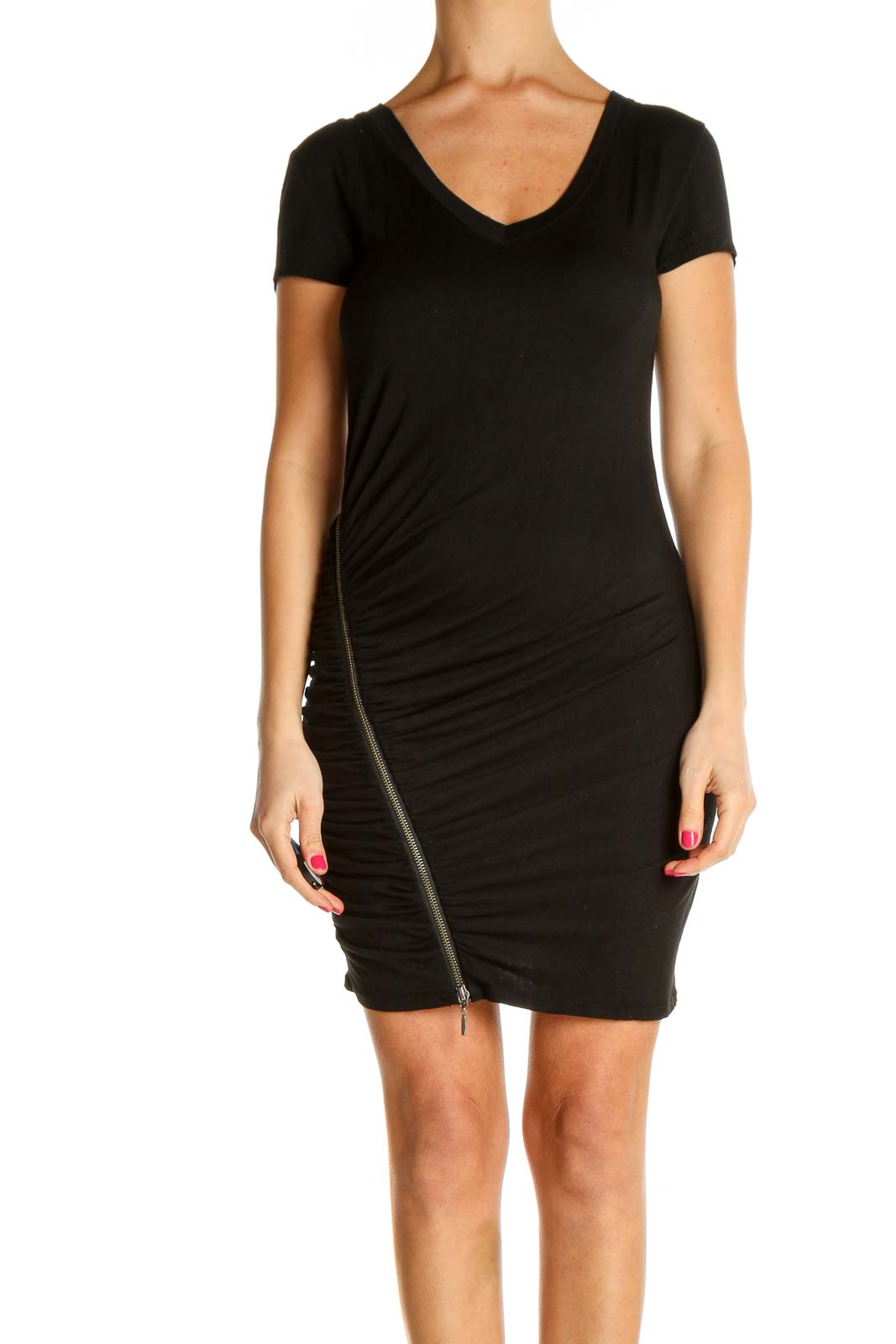 Black Solid Day Sheath Dress Front