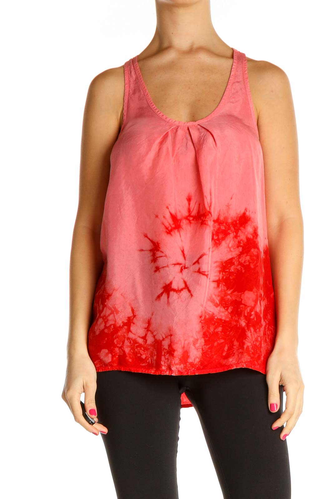 Red Tie And Dye All Day Wear Tank Top Front