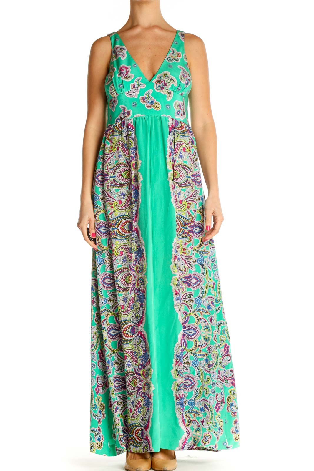 Green Printed Holiday Fit & Flare Dress Front