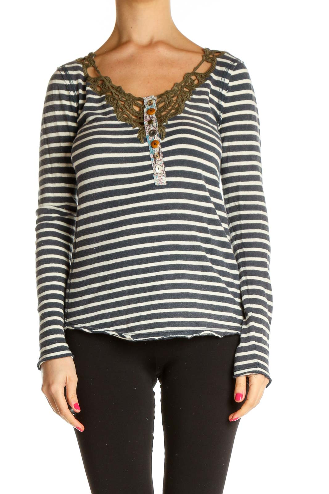 White Striped Bohemian T-Shirt Front