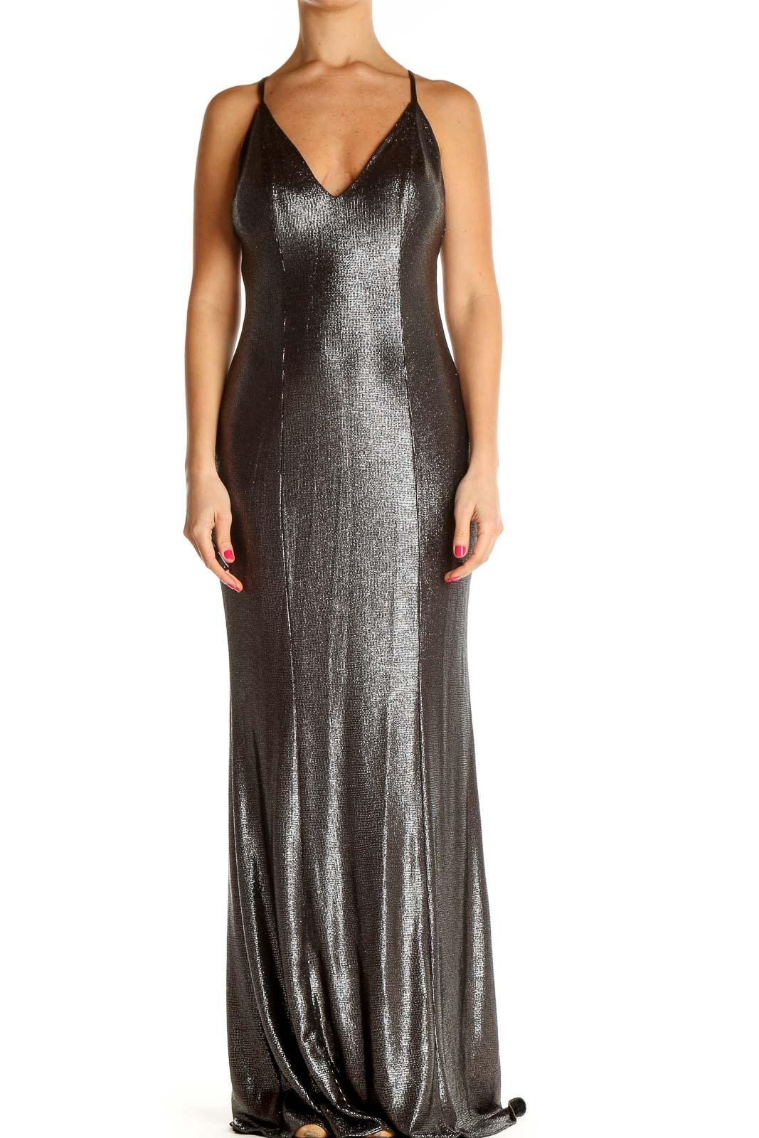 Gray Sequin Cocktail Column Dress Front