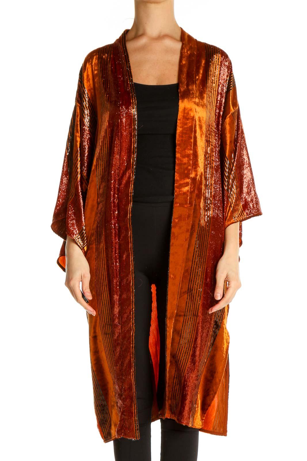 Orange Cardigan Front