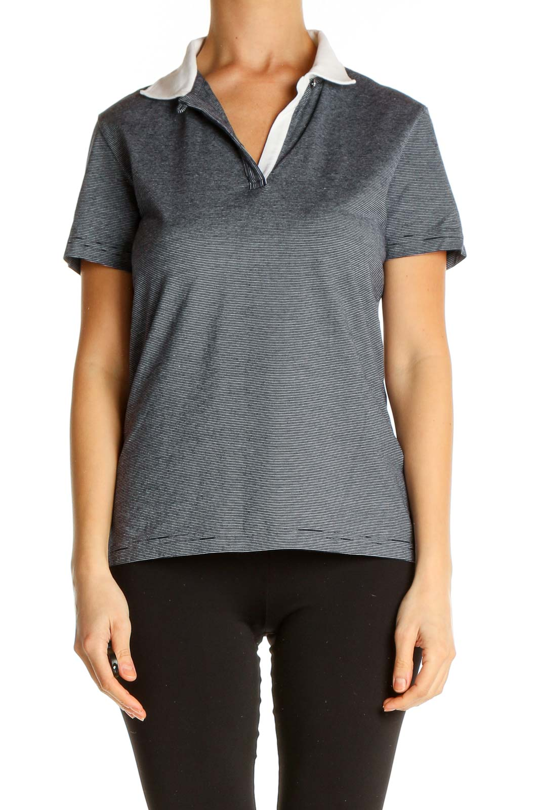 Gray Solid All Day Wear Polo Shirt Front