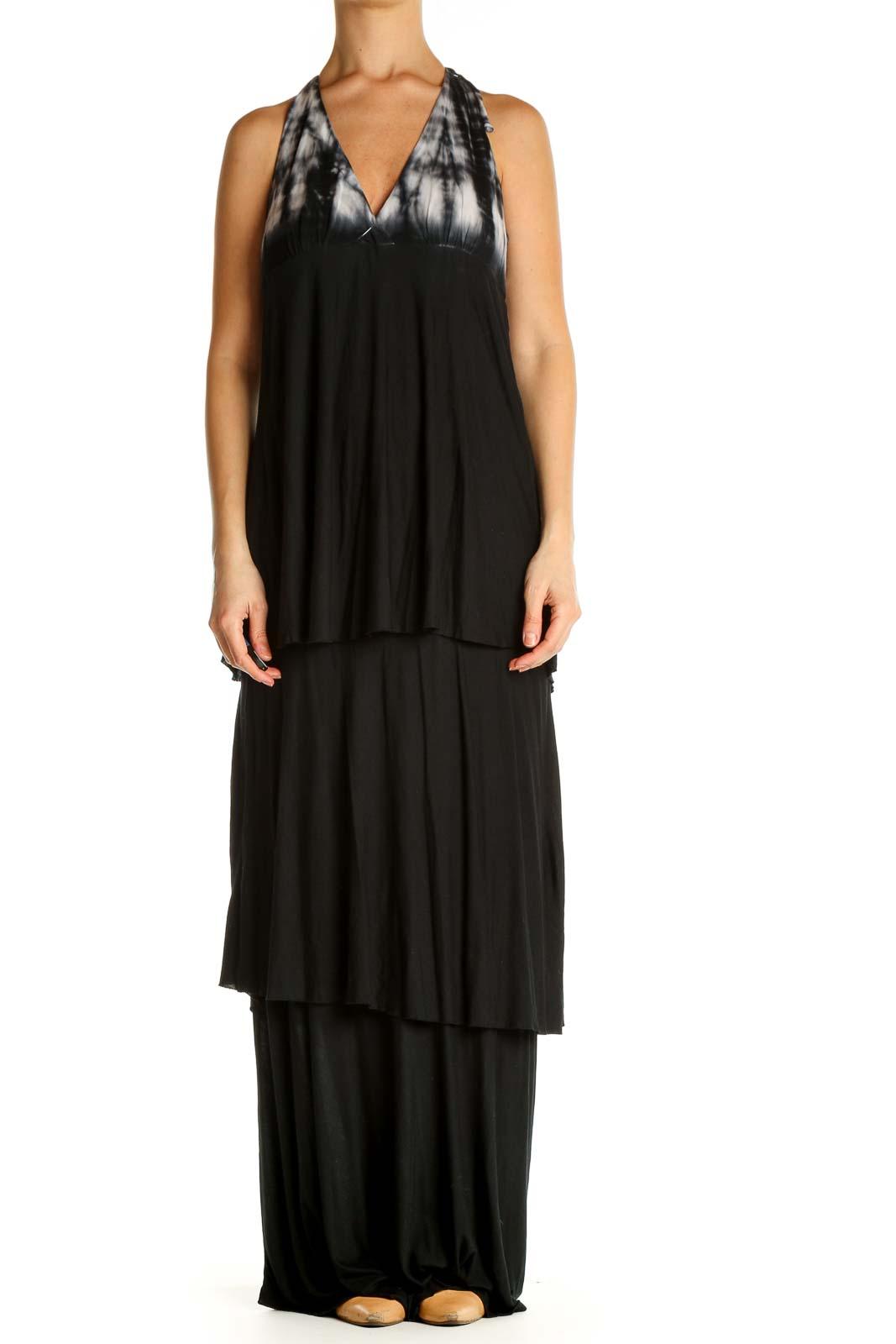 Black Solid Bohemian Column Dress Front